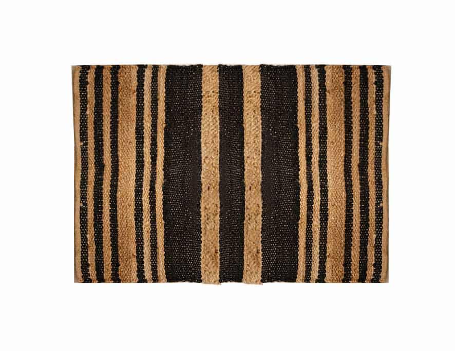 שטיח חבל משולב פסים שחורים