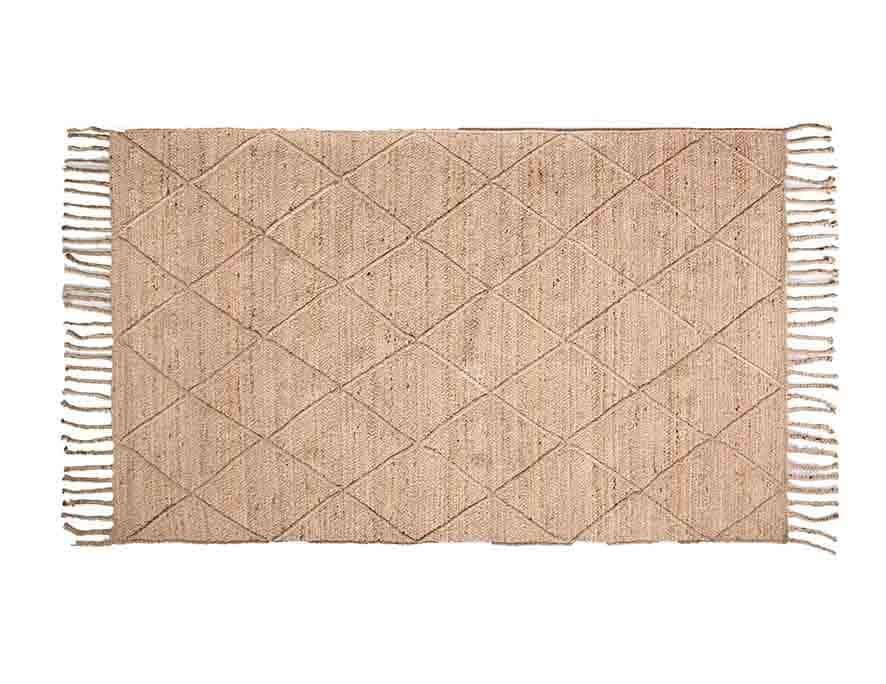 שטיח חבל סרוג מעויינים עם פרנזים שטיח הודי בוהו