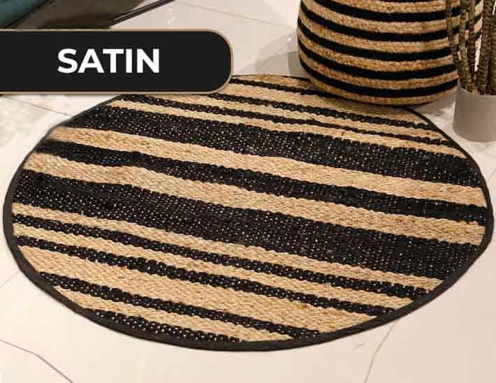 שטיח חבל עגול פסים שחורים ארנה