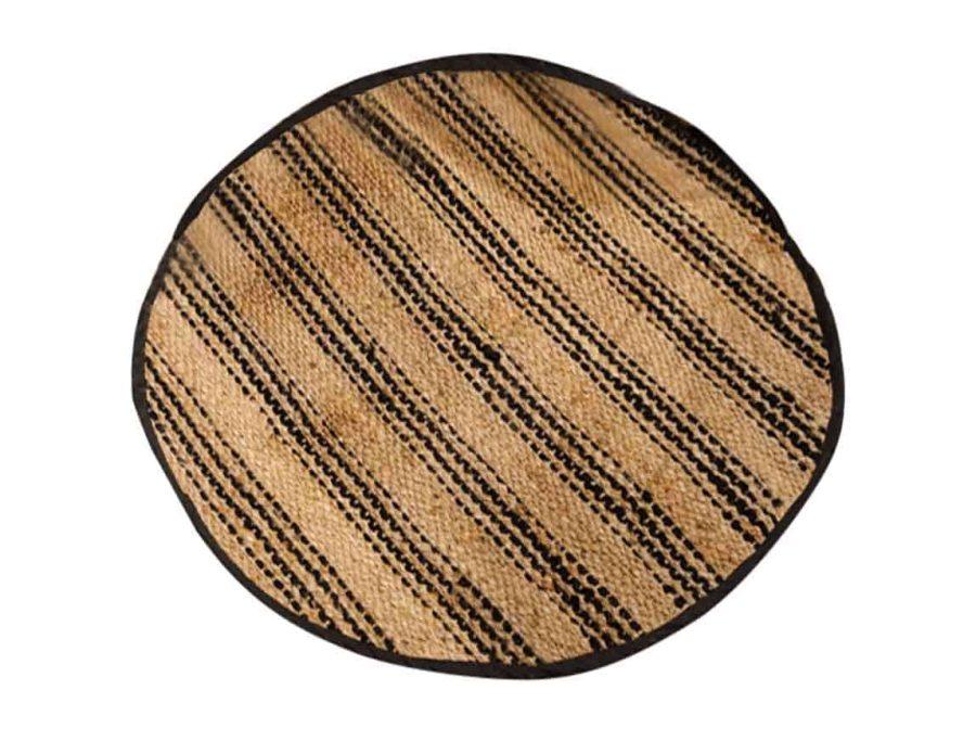 שטיח חבל עגול פסים שחורים