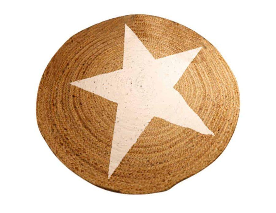 שטיח חבל עם כוכב לבן