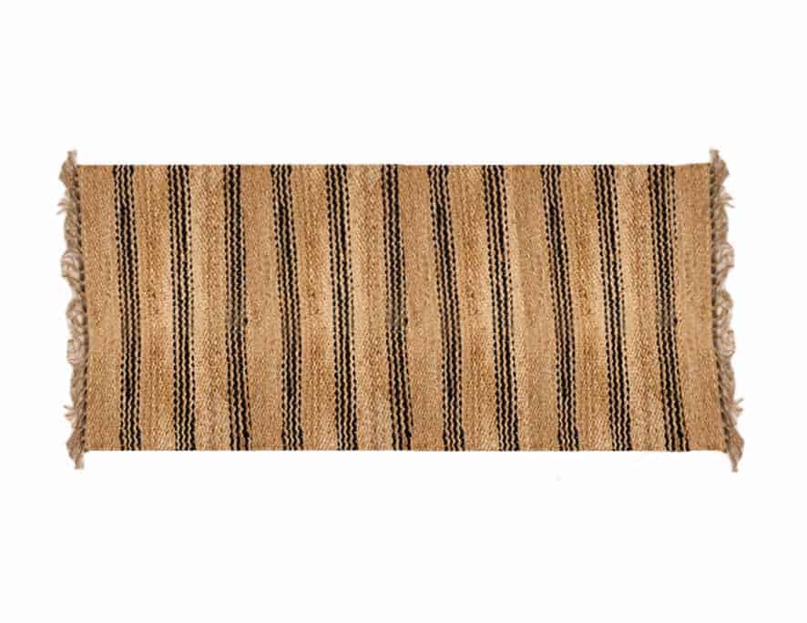 שטיח חבל עם פסים שחורים