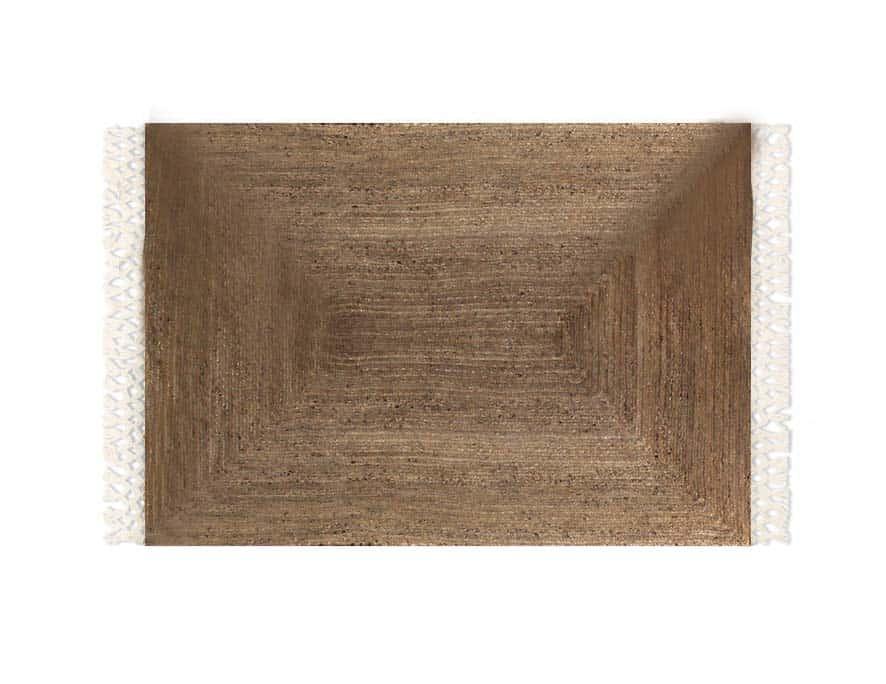 שטיח חבל עם פרנזים כותנה לבנים - שטיח שקד בוהו שיק
