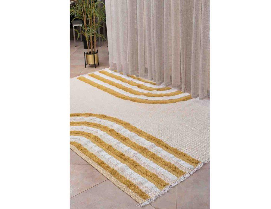 שטיח חרדל לבן לסלון ולחדר השינה אורכידאה אבסטרקט