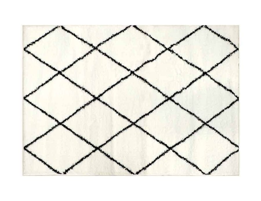 שטיח יהלום מעויינים לסלון ולחדר השינה בוהו שיק כותנה