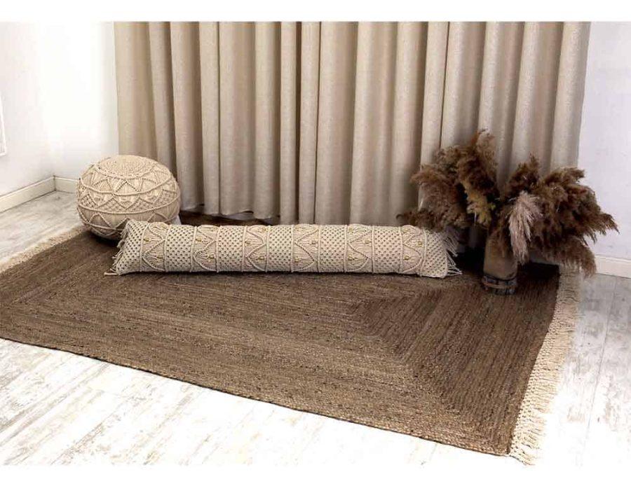 שטיח יוטה משולב פרנזים שטיח חבל פרנזים כותנה ש