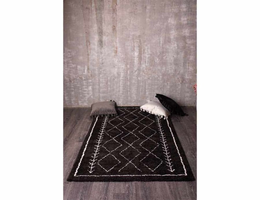 שטיח כותנה שחור לסלון ולחדר השינה מעויינים אבסטרקט בוהו