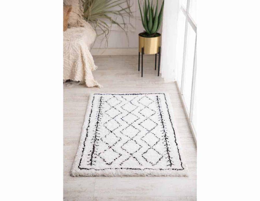 שטיח לבן שחור מעויינים אבסטרקט קולומביה כותנה לחדר השינה ולסלון