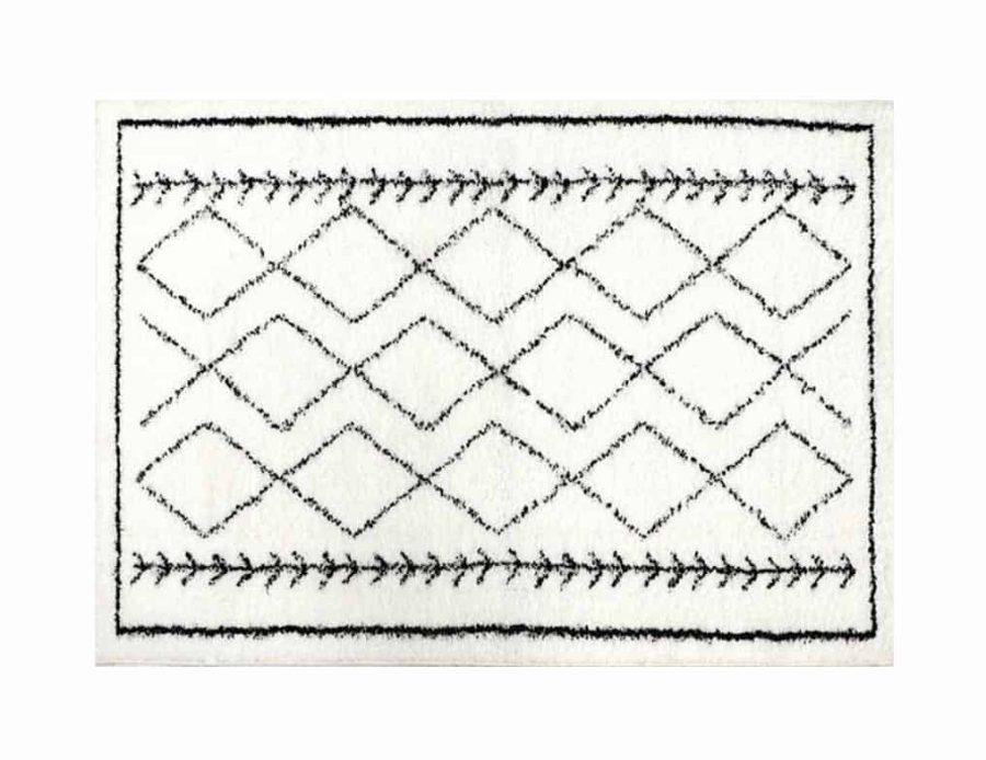 שטיח לסלון ולחדר השינה בעיצוב גיאומטרי שחור לבן