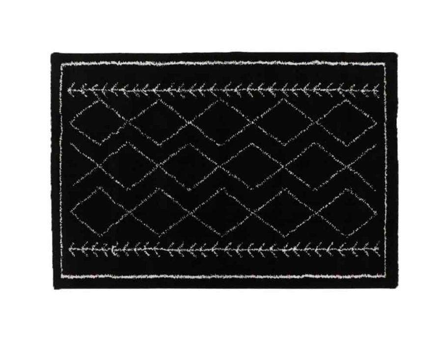שטיח לסלון ולחדר השינה בצבע שחור דגם קולומביה בוהו כותנה