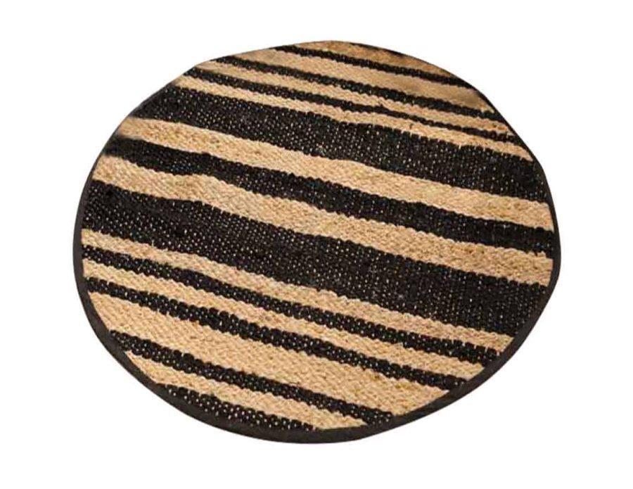שטיח עגול חבל פסים שחורים