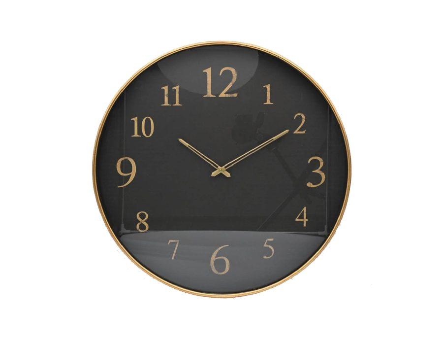 שעון קיר שחור זהב ספרות