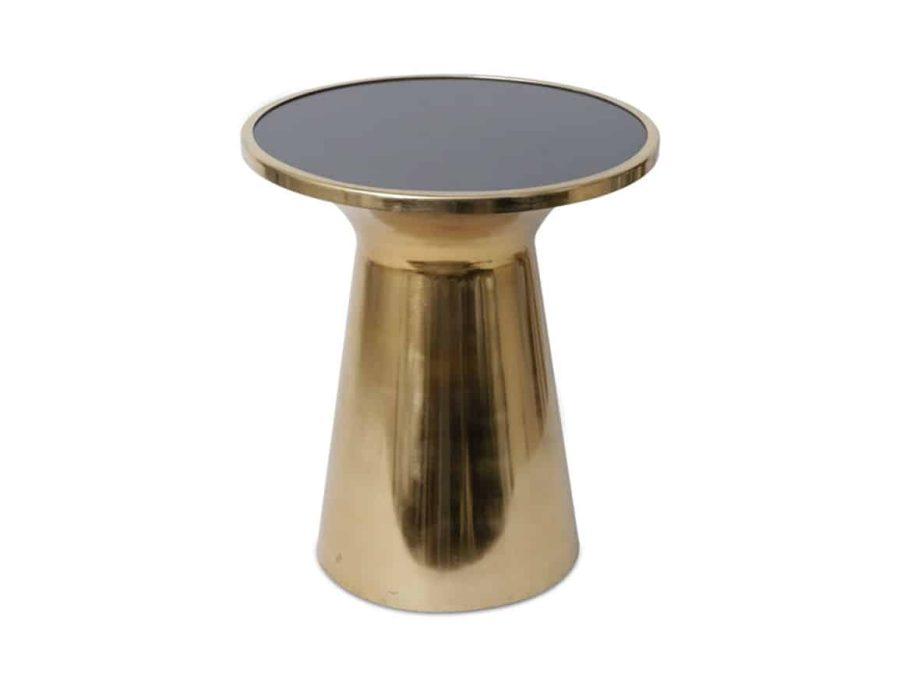 שולחן מראה שחורה רגל מתכת זהב