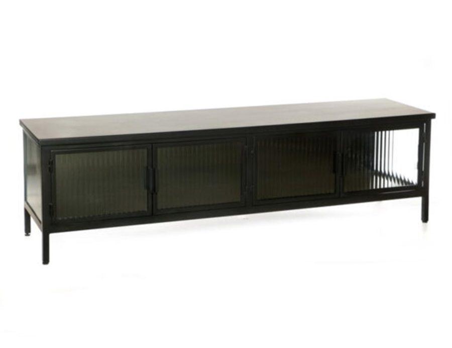 ארון 4 דלתות מתכת שחורהזכוכית ומדף מתכת (1)