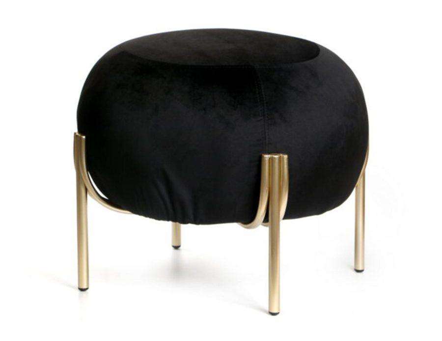 הדום ישיבה שחור קטיפה עגול עם רגלי זהב