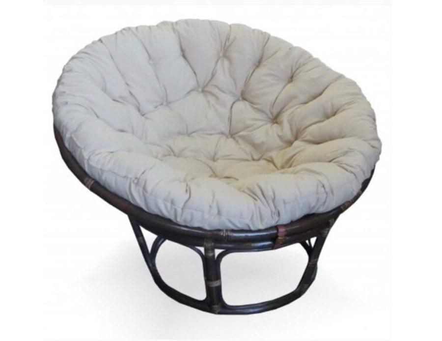 כורסא מראטן עגולה בצבע שחורה עם כרית