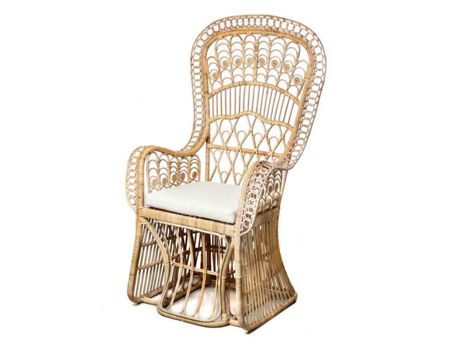 כורסא ראטן טבעי Boho עם כרית לבנה