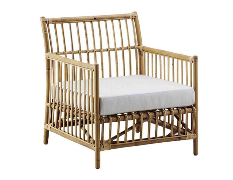 כיסא לאונג+מושב לבן ראטן טבעי Caroline
