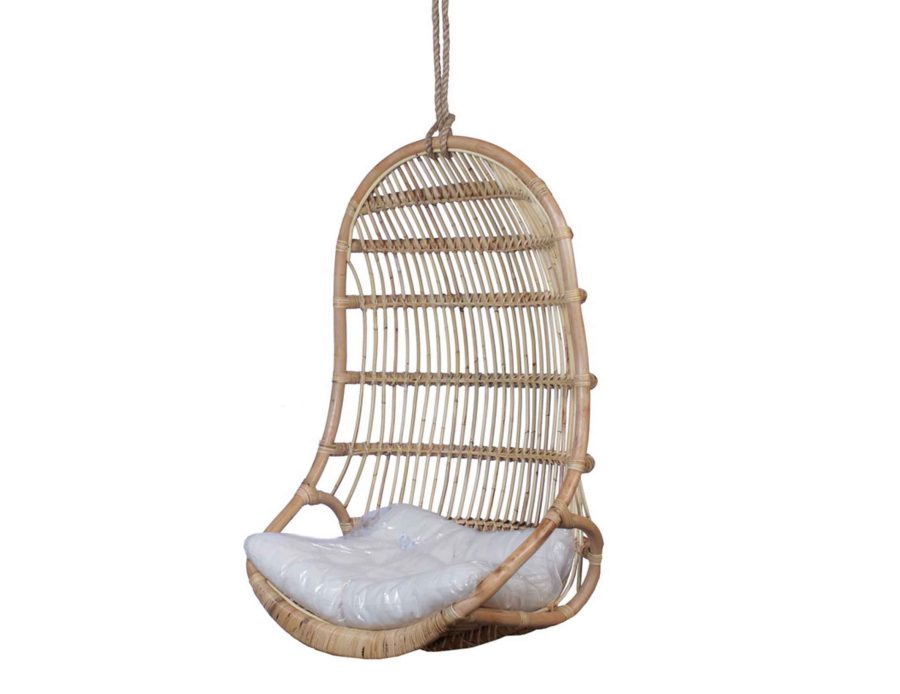 כיסא נדנדה לתליה ראטן טבעי בצבע לבן+כרית