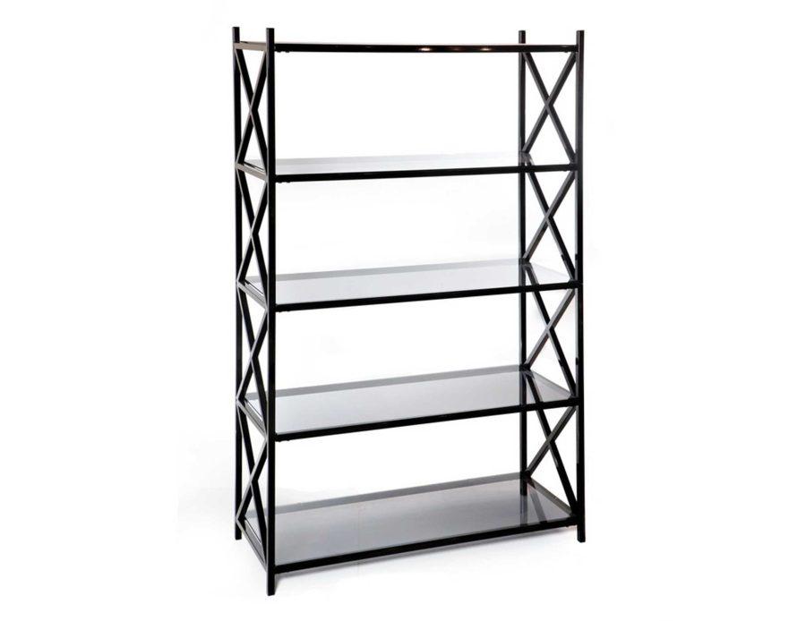 סטנד מדפים 5 קומות זכוכית אפורה מתכת שחורה