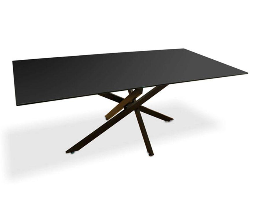 שולחן אוכל מלבני ממתכת עם זכוכית כהה