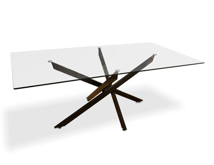 שולחן אוכל מלבני ממתכת עם זכוכית שקופה