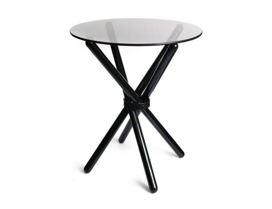 שולחן זכוכית שחור רגליים משולבות