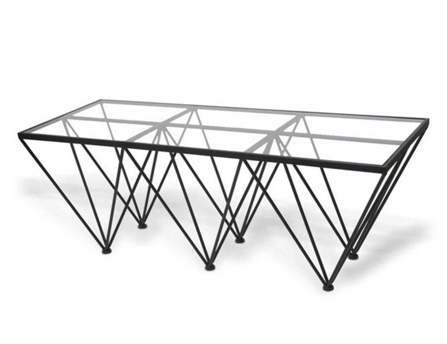 שולחן מתכת מלבני עם זכוכית שקופה