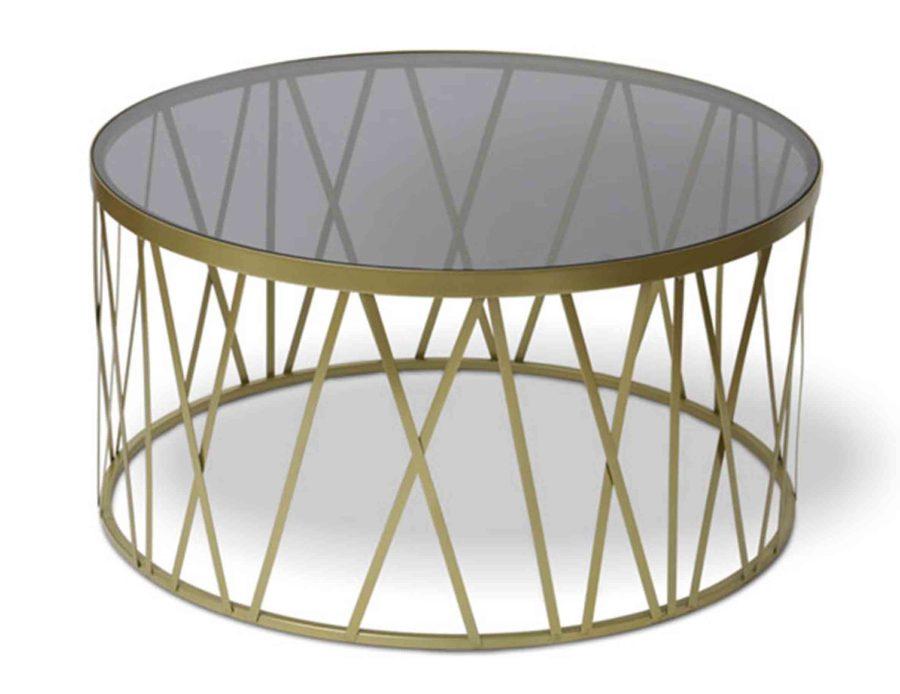 שולחן מתכת עגול מזהב זכוכית כהה