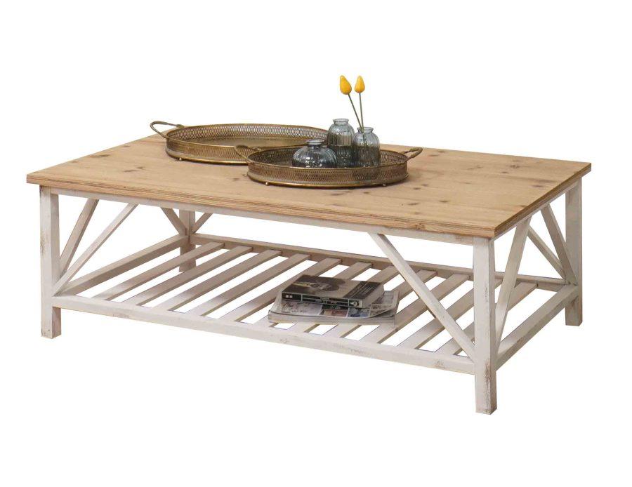 שולחן סלון לבן בסגנון כפרי מעץ
