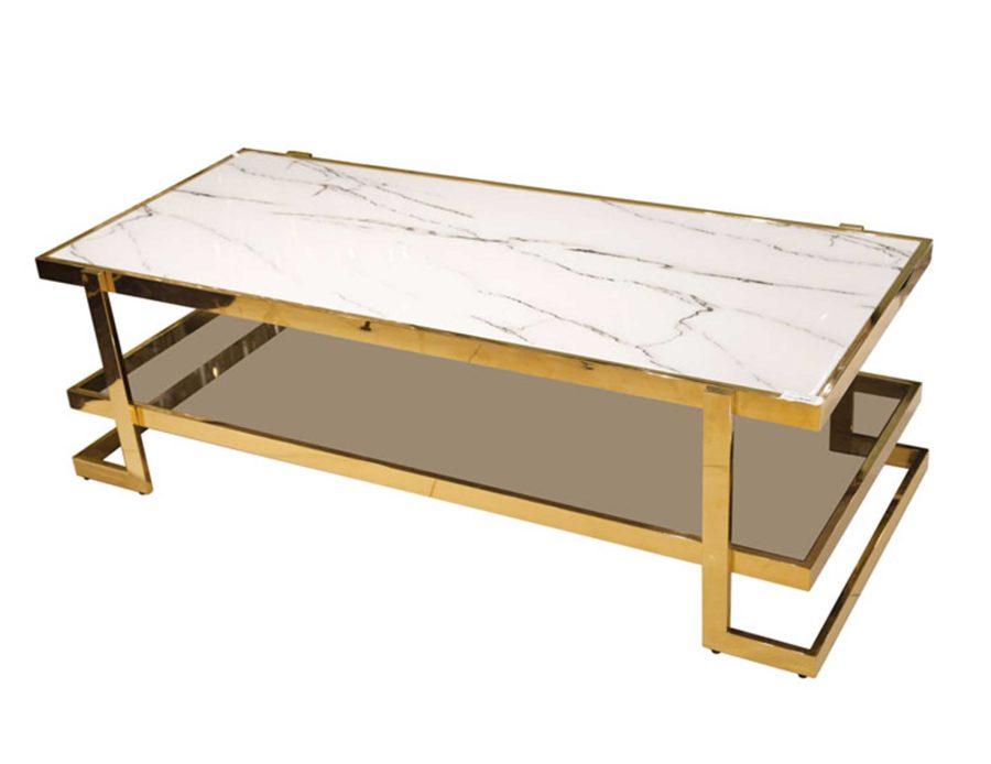 שולחן סלון מלבני מנירוסטה שיש לבן