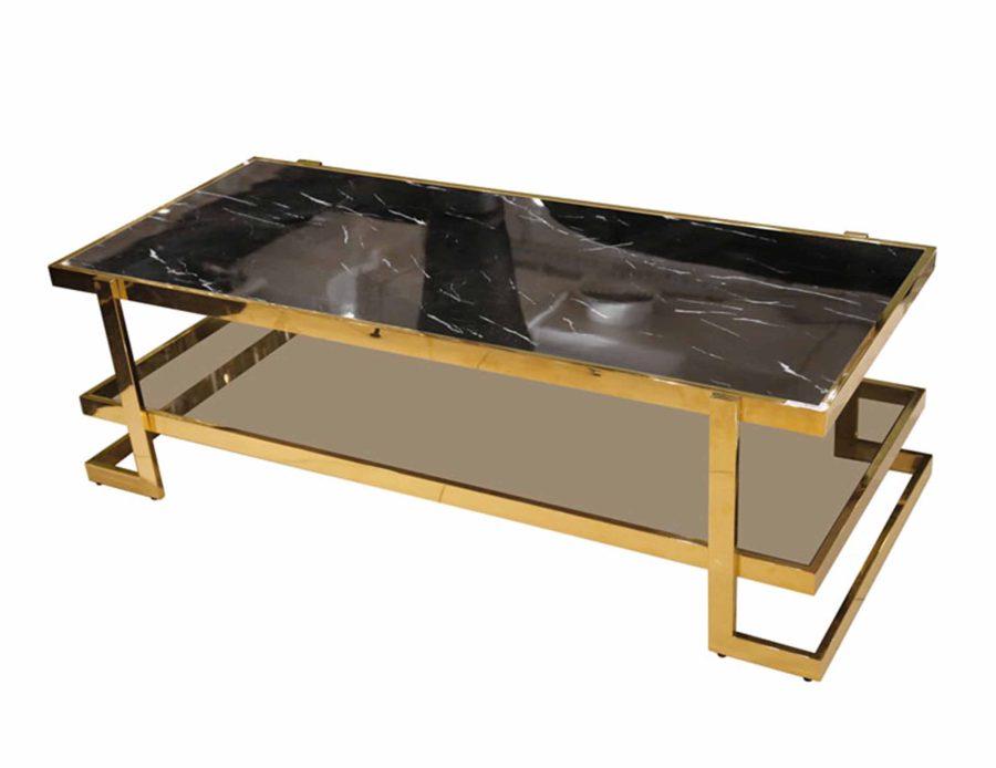 שולחן סלון מלבני מנירוסטה שיש שחור