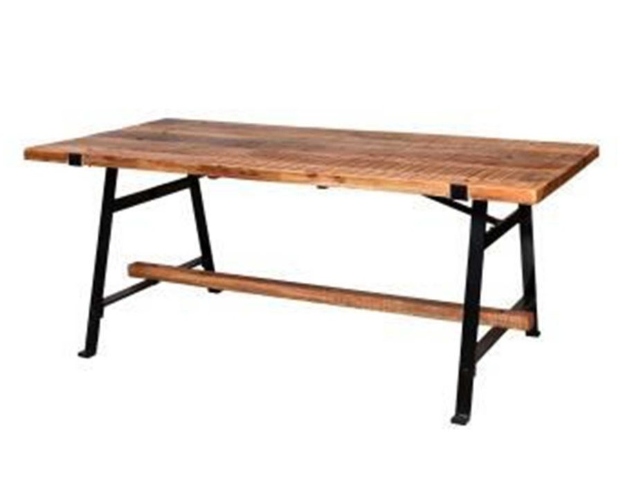 שולחן פינת אוכל מעץ עם רגליי ברזל