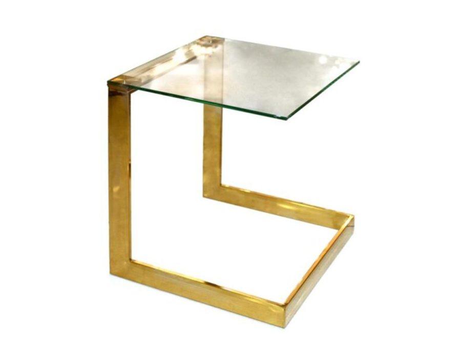 שולחן צד נשכן זהב עם זכוכית