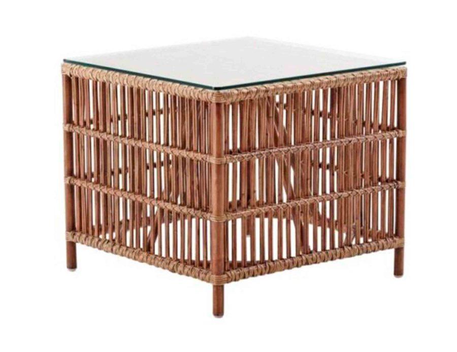שולחן צד ענתיק מראטן עם פלטת זכוכית