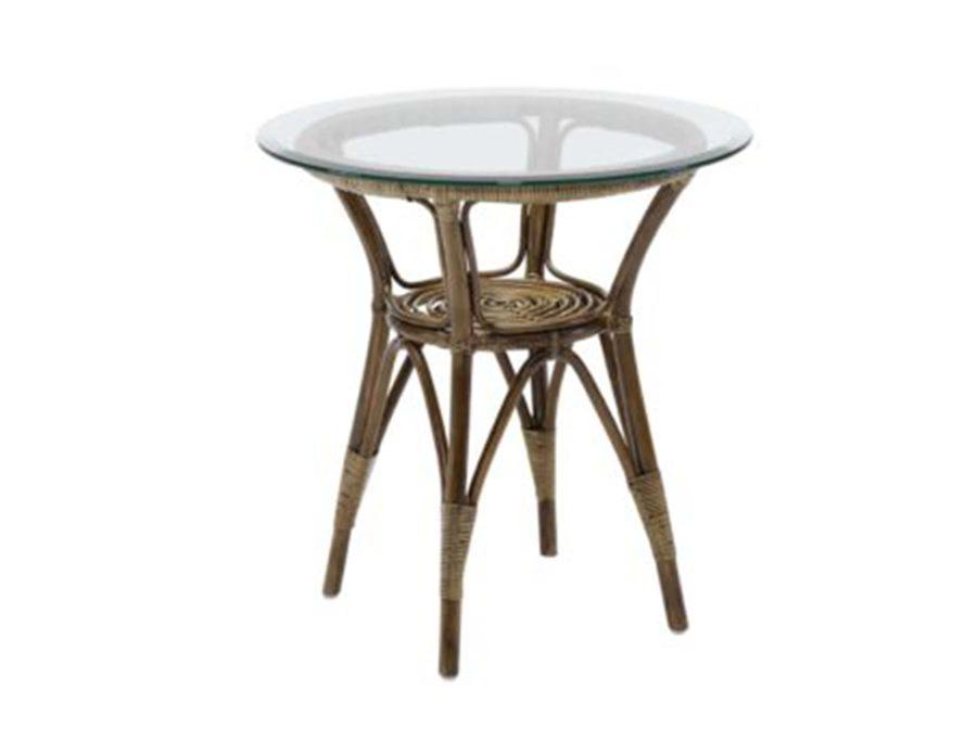 שולחן צד ראטן זכוכית ענתיק