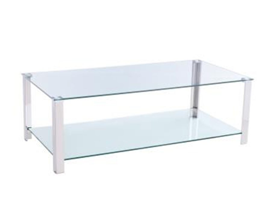 שולחן קפה דו קומתי זכוכית ומתכת