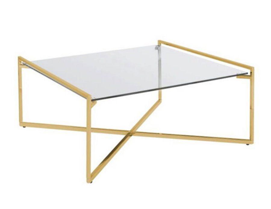 שולחן קפה מרובע בשילוב זהב עם זכוכית SHNIY GOLD