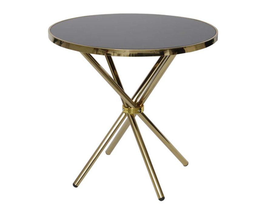 שולחן קפה עגול זכוכית כהה