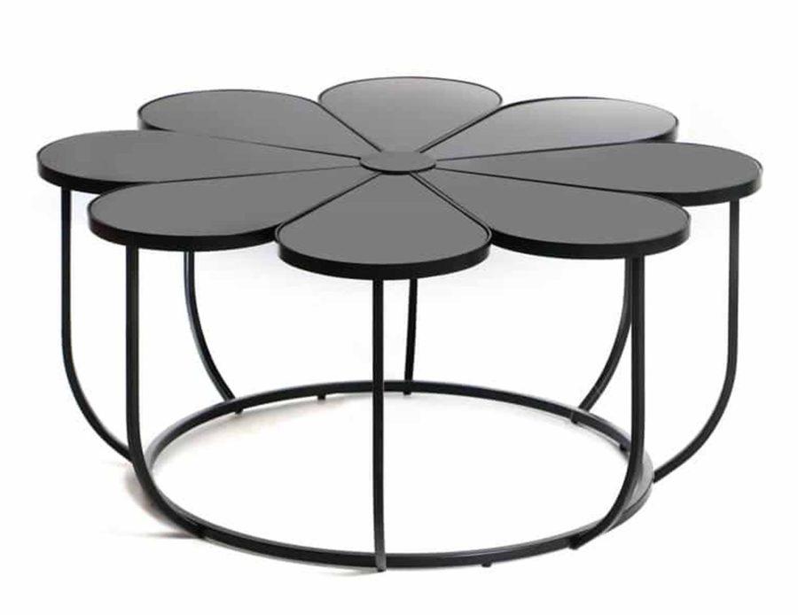 שולחן קפה פרח שיש שחור
