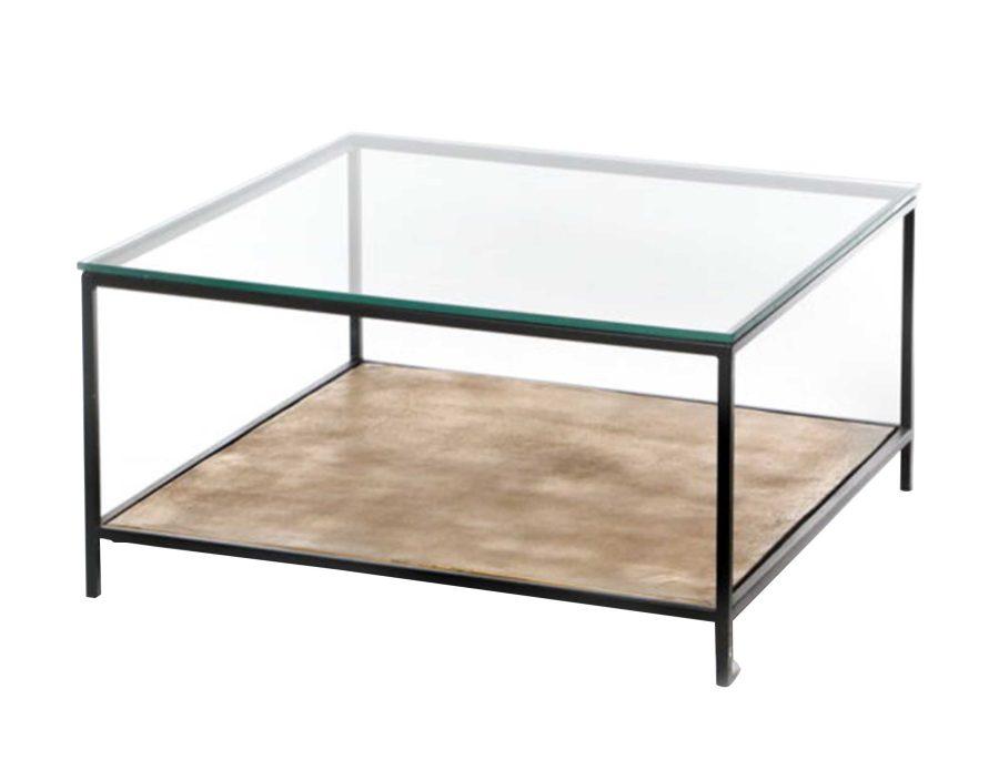 שולחן קפה ריבוע זכוכית מתכת