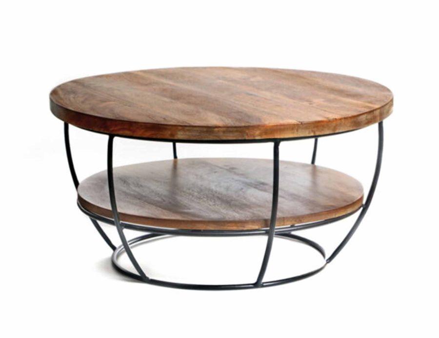 h34 שולחן עגול ומדף תחתון D65 עץברזל שחור